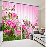 Sproud Pink Flowers Butterfly Modern 3D Blackout Curtains Drapes For Living Room Bedding Room Hotel Office Home Wall Tapestry -240Cmx300Cm
