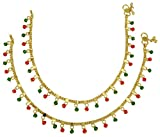 Banithani Indian Gold Tone Crystal Beads Traditional Women Wedding Foot Anklet Jewelry