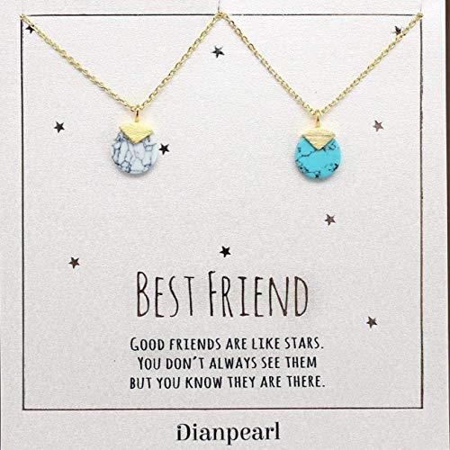 (white and blue howlite gemstone necklace, Best friend necklace, BFF Necklace, friendship necklace for 2, Gold dainty necklace, gemstone necklace, Turquoise Howlite)