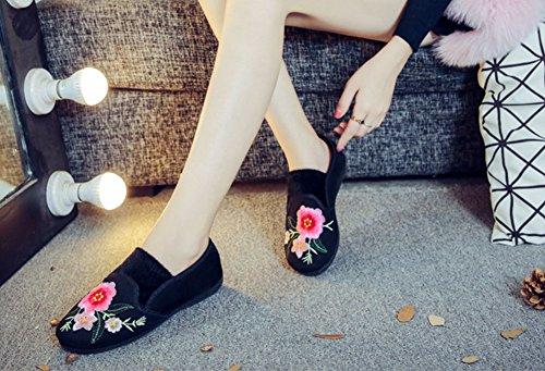 Avacostume Vrouwen Casual Plus Kasjmier Borduurwerk Platte Loafer Schoenen Zwart