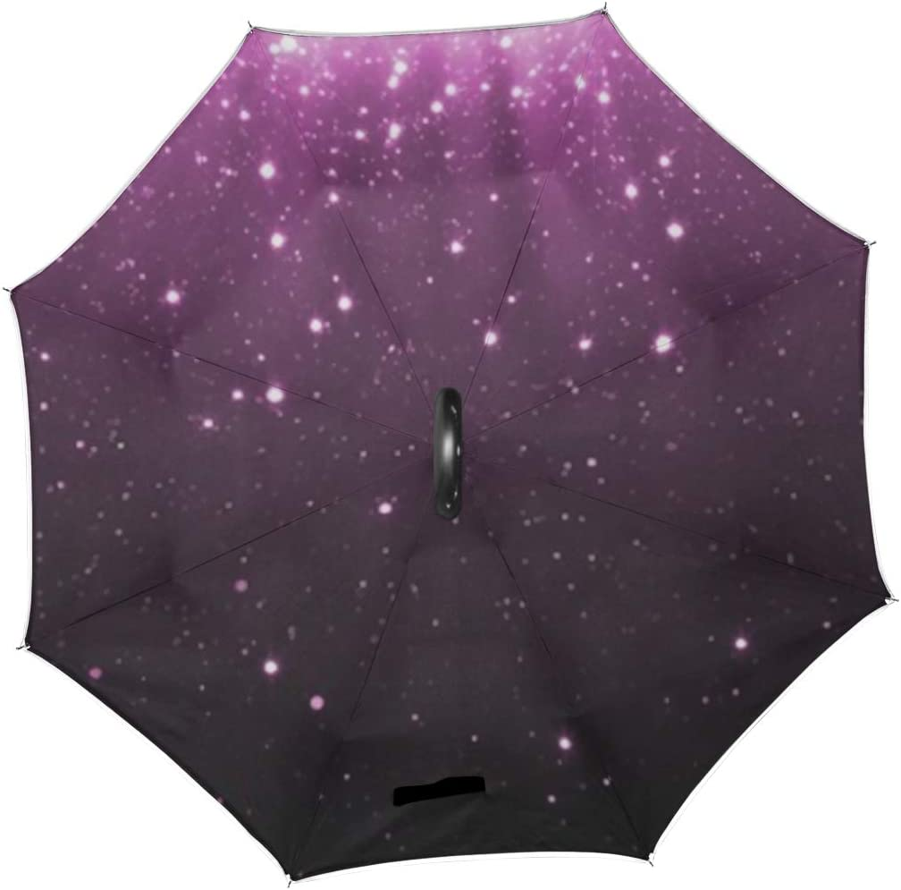 Double Layer Inverted Inverted Umbrella Is Light And Sturdy Abstract Purple Glitter Particles Background Shining Reverse Umbrella And Windproof Umbre