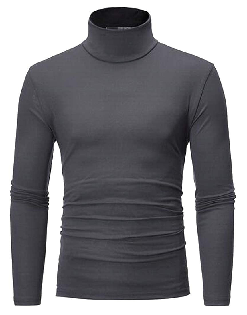 Jotebriyo Mens Basic Solid Color Turtleneck Slim Long Sleeve Comfy T-Shirt Tee Tops