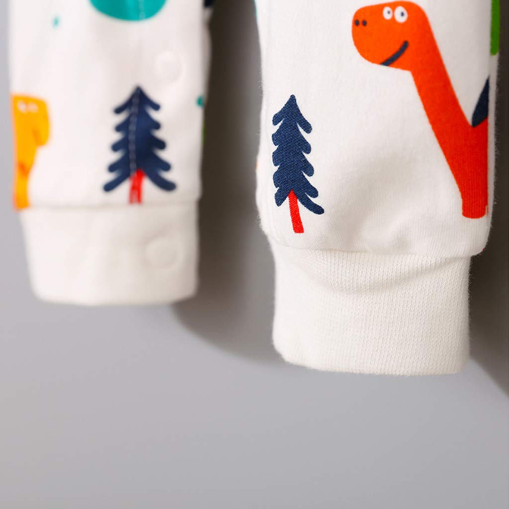 Autumn Cartoon Jumpsuits for Kids,Jchen Boys Girls Long Sleeve Dinosaur Print Button Romper Jumpsuit Playsuit for 0-4 Yrs