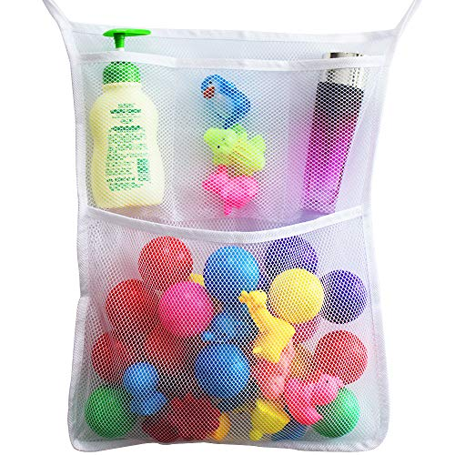 (Bath Toy Organizer Net Bag Bathroom Baby Toy Storage Quick Dry Bathtub Mesh Net with 2 Strong Suction Hooks Suction Cups (White))