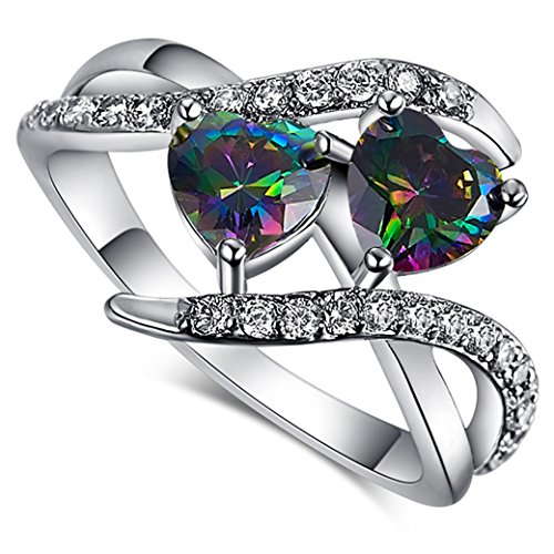 Narica Women's Elegant 6mmx6mm Double Heart Shaped Rainbow Topaz Twist CZ Ring Band
