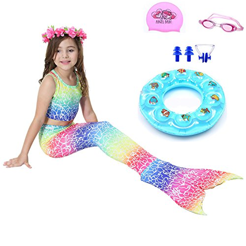 Price comparison product image AUIE SAOSA Mermaid Tail Swimwear Children Mermaid Clothing Cosplay Bikini,Giving:Swim Cap,Swim Goggles,Swim Ring,Nose Clip 4T Blue&Red BR110