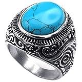 KONOV Mens Stainless Steel Ring, Classic Vintage, Blue Silver