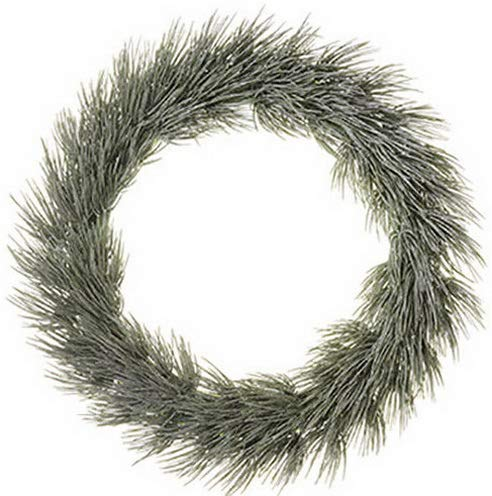 Mikash 20 Glittered Long Needle Pine Artificial Hanging Wreath -Gray/Green (Pack of 6) | Model WRTH - 131 ()