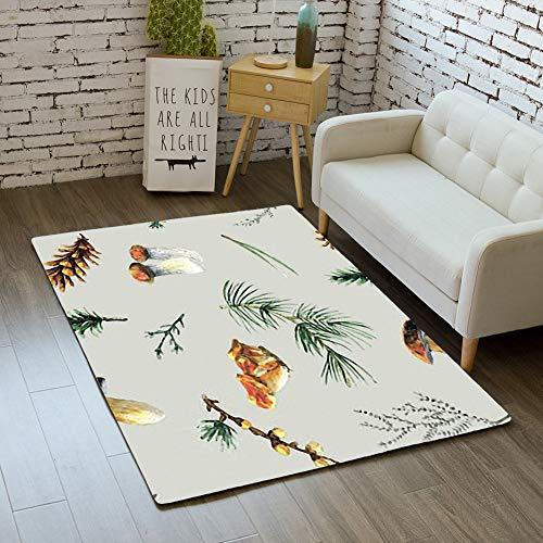 iBathRugs Door Mat Indoor Area Rugs Living Room Carpets Home Decor Rug Bedroom Floor Mats,Pine Mushrooms Watercolor Seamless Pattern
