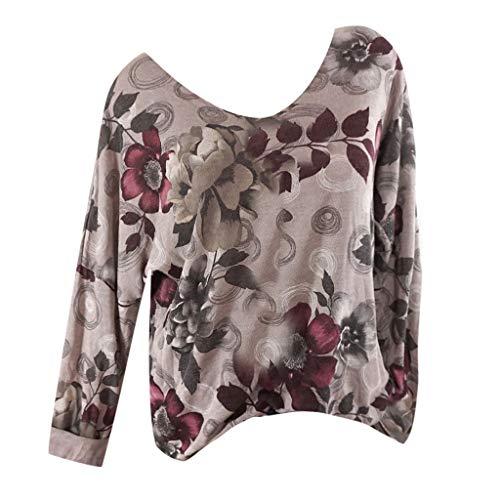 Metallic Racer Back Bra - 2019 New Women's Casual Shirt, VECDUO Plus Size Women Print Long Sleeve Blouse Tops