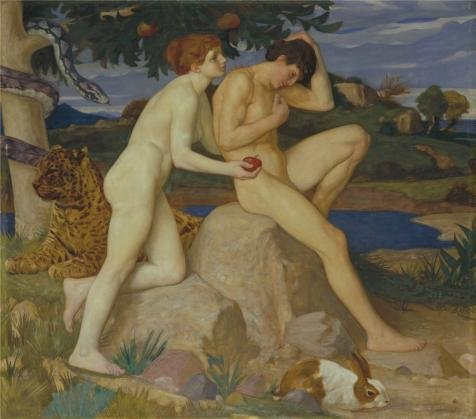 Oil Painting 'William Strang - The Temptation,1899', 12 x 14 inch / 30 x 35 cm , on High Definition HD canvas prints is for Gifts And Bar, Basement And Study Room Decoration, how to (How To Crackle Paint)