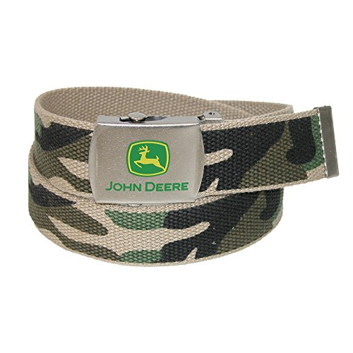 John Deere Boys' Canvas Camo Belt with Military Buckle, 20, Camouflage