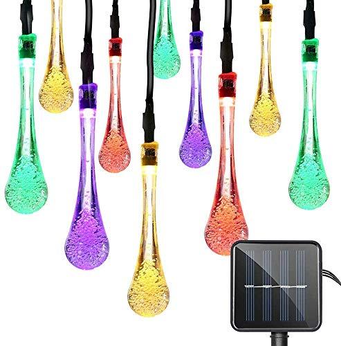 Solar Lichterkette Regentropfen, 30Led Bunt für Außen 8 Modi IP65 Wasserdicht Dekoration für Garten Bäume Terrasse Party (Bunt Regentropfen)