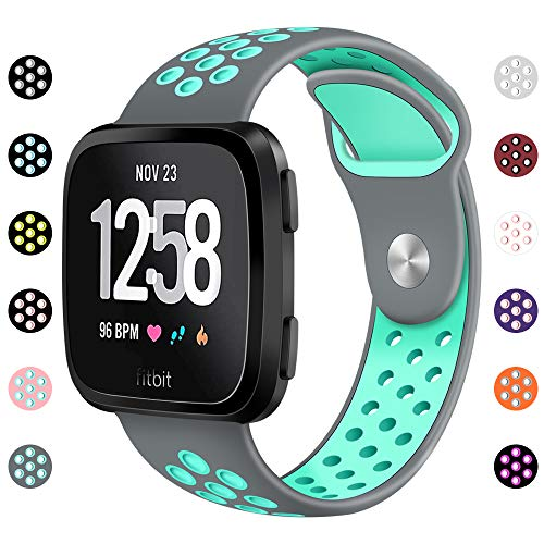NANW Compatible Fitbit Versa Bands Silicone, Soft Silicone Replacement Band for Fitbit Versa, Air Hole Wristband Strap for Women Men with Large Small(5.5-8.9) Size