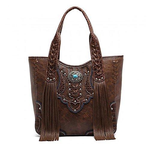 Cowgirl Trendy Western Fringe Concealed Carry Country Purse Handbag Totes Shoulder Bag Brown