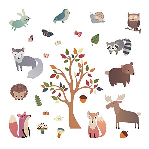 decalmile Woodland Animal Wall Decals Deer Fox Tree Wall Stickers Nursery Wall Art Decor Kids Bedroom Baby Room Decoration (Girl Fox Window Decals)
