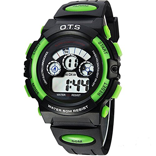Price comparison product image OTS Outdoor Multi-Function Digital Sport Watch Water Resistant Alarm Luminous LED Light Student Watch For Unisex Kids Boys Girls (Green)