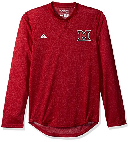 NCAA Miami of Ohio Redhawks Adult Men Logo L/S Henley Tee,Large,Red ()