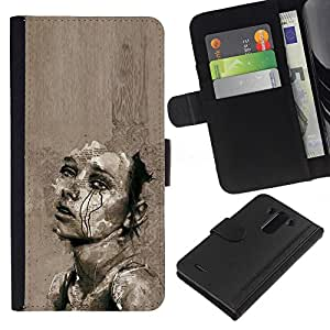 Triste Grigio Cry Heartbreak Art Schizzo - la tarjeta de Crédito Slots PU Funda de cuero Monedero caso cubierta de piel Para LG G3
