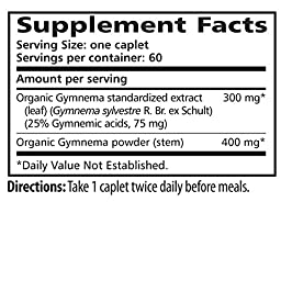 Himalaya Organic Gymnema 60 Caplets for Sugar Destroyer & Healthy Glucose Metabolism 700mg