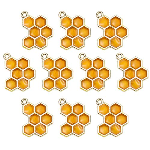Monrocco 10pcs Enamel Honey Bee Charms Honeycomb Charm for Jewelry Making Bracelets DIY - Enamel Bee Charm