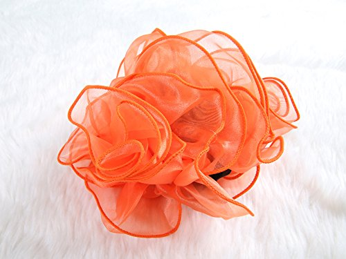 [Extra Large Size Chiffon Rose Bow Hair Claw Clip (Orange)] (Indian Mens Braid Adult Wig)