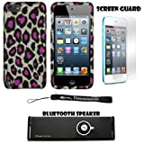 Pink and Gray Leopard 2 piece Cover Shield Protector Case For Apple iPod Touch 5 ( 5th Generation) 32GB, 64GB + Anti Glare Screen Protector Guard + Supertooth Disco Bluetooth Speaker with AUX Cable + an eBigValue ™ Determination Hand Strap