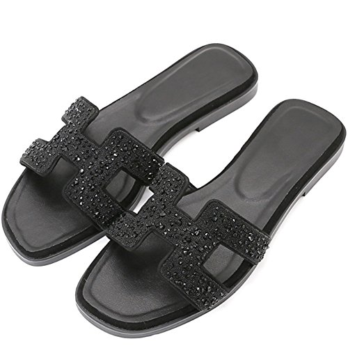 Sommer Größe EU39 cool Weibliche Hausschuhen Leder Frauen H Reise Sandalen Farbe größe Slipper C UK6 A CN40 Strass mit flach 3 optional Fashion Farben Hausschuhe 5 optional wqfvfBT0