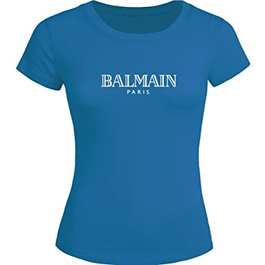 dd820b94 Balmain Logo Printed for Ladies Womens T-Shirt Tee Outlet: Amazon.co.uk:  Clothing