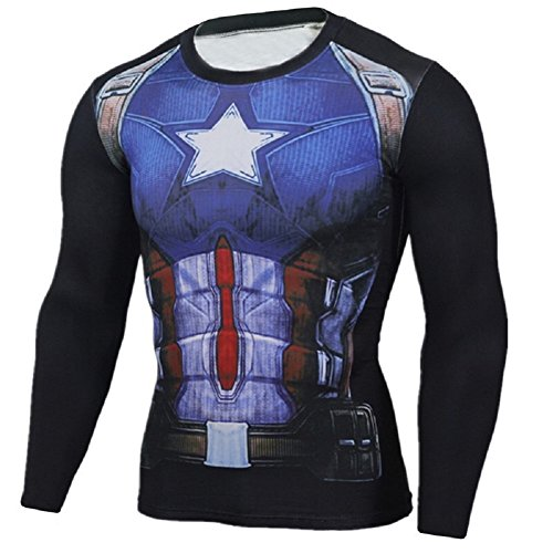 Cosfunmax Superhero Captain Team Leader Compression Shirt Sports Gym Ruining Base Layer XS by Cosfunmax (Image #2)