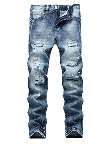 (Men's Ripped Distressed Destroyed Straight Fit Washed Denim Jeans (40, Light Blue))