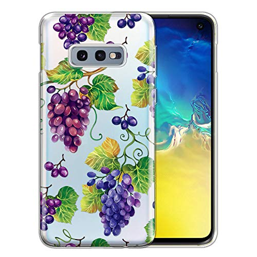(FINCIBO Case Compatible with Samsung Galaxy S10E 5.8 inch, Clear Transparent TPU Silicone Protector Case Cover Soft Gel Skin for Galaxy S10E (NOT FIT S10) - Bunch Purple Grapes )