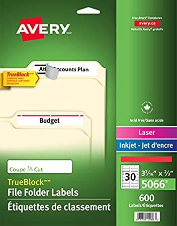 Avery Filing Labels With Trueblock Technology For Laser And Inkjet