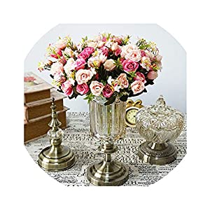 13 Heads Rose Artificial Flowers Small Bouquet Silk Rose Flower Wedding Home Party Decoration Fake Flower Flower 4