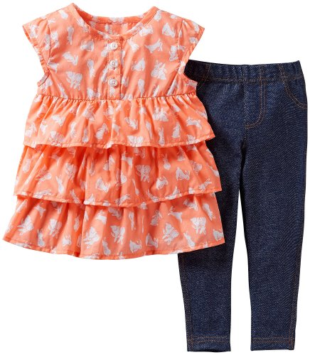 Carter's Two Piece Baby Girls Easter Outfit - Bunny Ruffle Top and Jeggings