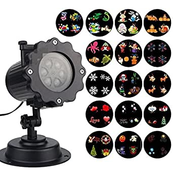 GoodPro Decorative Lighting Projectors, Waterproof LED Landscape Spotlight with 16 Slides Snowflake Projectors, Indoor or Outside for Christmas, Birthday, Holiday and Every Occasion Decoration