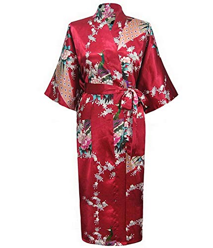 Robe Kimono, Summer Sexy Black Women's Robe Satin Rayon Print Nightgown Long Sleepwear Kimono Bath Gown Flower Pajamas 3X