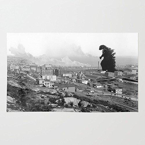 Society6 Old Time Godzilla Rug 4' x 6' (Taylor Black Rug)