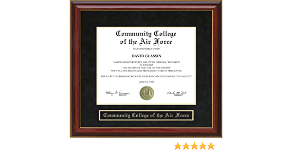 Amazon Com Wordyisms Community College Of The Air Force Ccaf Mahogany Diploma Frame