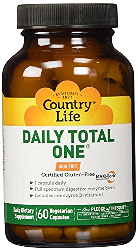 Country Life Daily Total One - Maxi-Sorb Multi-Vitamin, Iron Free - 60 Vegetarian - Life Pack Daily Multi
