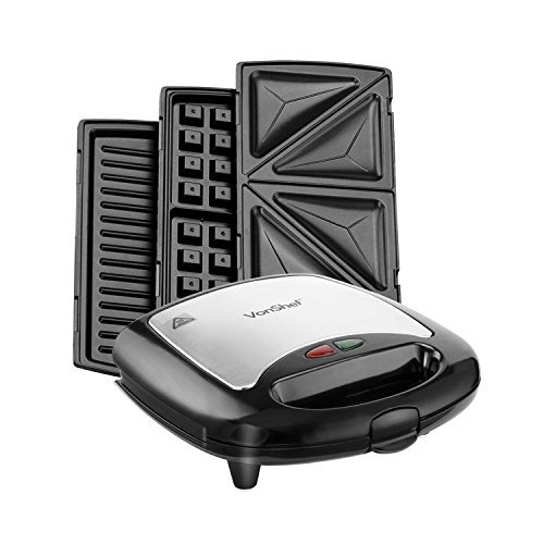(VonShef 220 240 Volts 3 in 1 Sandwich/Panini Maker, Waffle Iron & Grill with Removable Plates - 700W - Stainless Steel | Bundled W/Dynastar Plug Adapters | 220v 240v (NOT FOR USA))
