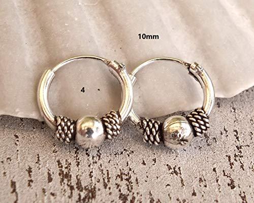 (Pair of 10mm Sterling Silver Hoop Earrings, Handmade Hoop Earrings for Women, bali hoop earrings sterling silver, Sterling Silver Hoops)