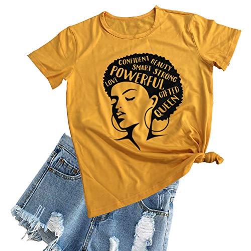 Queen Yellow T-shirt - YourTops Afro Powerful Woman T-Shirt Strong Confident Queen T-Shirt (US XL, 1-Yellow)