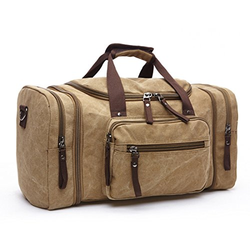 MEWAY Canvas Duffel Bag Travel Tote Weekender Luggage with Strap (Khaki)