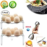 Egg Steam Rack, 4-Pack Egg Cooker Stand for Pressure Cooker, Cooking Ware Food Steam Rack Stand Basket Egg Cracker Topper with Spoon Set, Stainless Steel Kitchen Tool