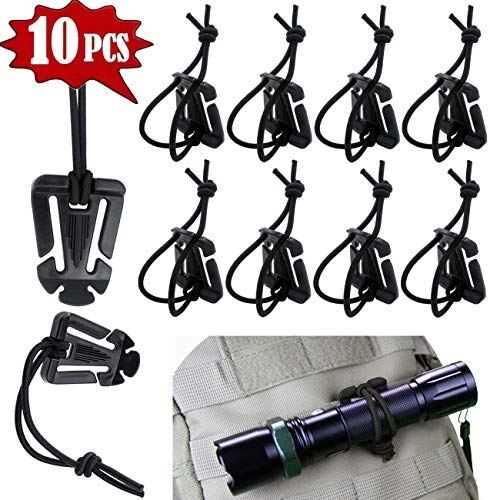 (Tragoods 10 PCS Advanced Tactical Gear Clip Molle Web Dominators Elastic String for Outdoor Hydration Tube Backpack Straps Management (Black) )