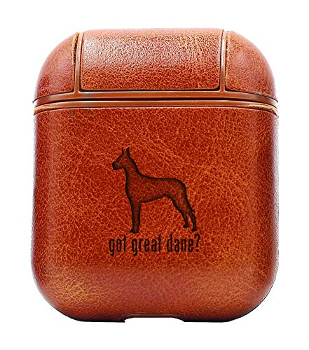 Animal GOT Great DANE Dog 1 (Vintage Brown) Air Pods Protective Leather Case Cover - a New Class of Luxury to Your AirPods - Premium PU Leather and Handmade exquisitely by Master Craftsmen