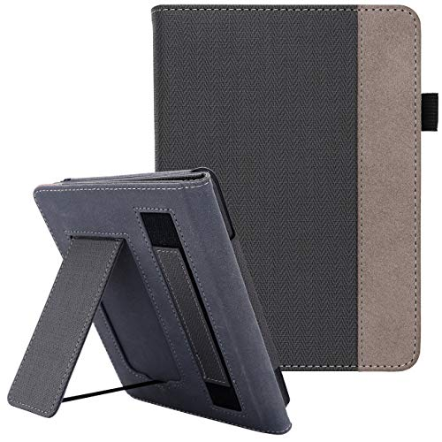 WALNEW Stand Case Fits Kindle Paperwhite 10th Generation 2018 (Model No.PQ94WIF) PU Leather Case Smart Protective Cover with Hand Strap