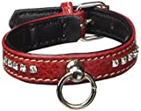 Petego La Cinopelca Flat Calfskin Collar with Crystals, Red, X-Small, 1/2 Inches by 9 Inches