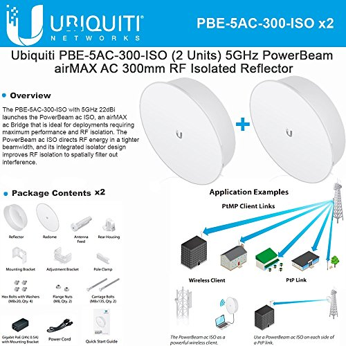 Ubiquiti PBE-5AC-300-ISO 2-PACK 5GHz PowerBeam AC 300mm RF Isolated Reflector by Ubiquiti Networks